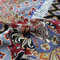 Black Choco and Grey Bohemian Paisley Pattern Printed Poly Moroccan Fabric by the Yard