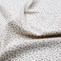 Ivory Taupe Abstract Design Printed Poly Moroccan Fabric by the Yard