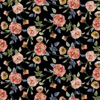 Black Peach Large Floral Pattern Printed ITY Stretch Jersey Knit Fabric Twist Yarns ITY