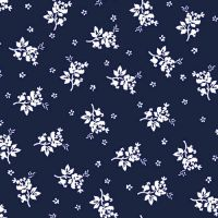 Navy OffWhite Ditsy Floral Design Printed Poly Moroccan Fabric by the Yard