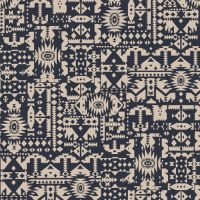 Antique Teal with Sand Aztec Tribal Pattern Printed on Sweater Knit Fabric