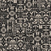 Charcoal Sand Aztec Tribal Pattern Printed on Sweater Knit Fabric