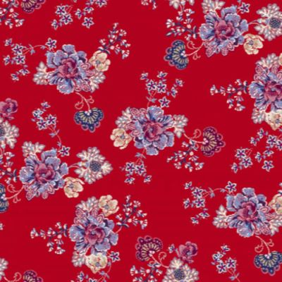 Off White Red Tiny Floral Pattern Printed on Double-Sided Brushed DTY Stretch Fabric by the Yard Style P-1701-668