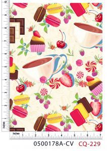 Macaroons and Chocolate Design 100% Cotton Quilting Fabric by the Yard