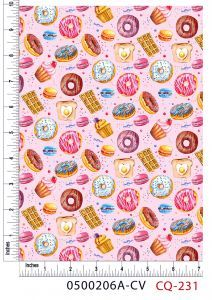 Doughnuts and Sweets Design 100% Cotton Quilting Fabric by the Yard