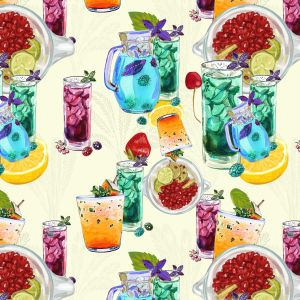 Summer Ice Tea Design 100% Cotton Quilting Fabric by the Yard