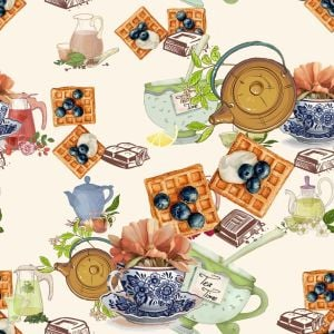 Waffle and Berries Design 100% Cotton Quilting Fabric by the Yard
