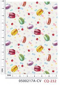 Macaroons and Cherries Design 100% Cotton Quilting Fabric by the Yard