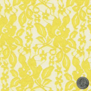 Yellow Tea Rose Floral Lace Fabric