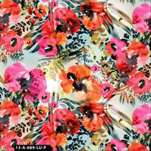 Impressionist Floral in Watercolor 100% Cotton Quilting Fabric by the Yard - (Sage, Fuchsia, Red and Orange)