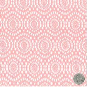 CLEARANCE!!! Cotton Candy Pink Circular Medallion Pattern Crochet Fabric