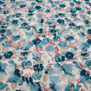 Blue Baby s Breath Print Lace Fabric by the Yard