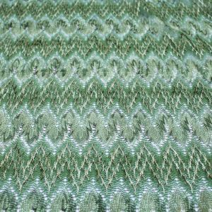 Sage Green Flamestitch Two-tone Lace Fabric