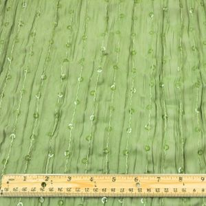 Olive Green Sequins Stripe Crinkle Chiffon Fabric