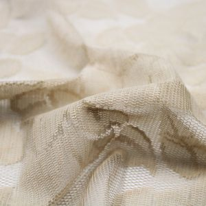 Tan Tea Leaves Design Lace Fabric