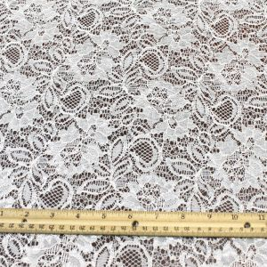 Crystal Floral Off White Nylon Lace Fabric by the yard or wholesale - Jewel Pattern