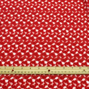 Red Open Knit Lace Fabric by the yard - Bette Pattern