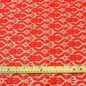 Floral Bulb Red Lace Fabric by the yard or wholesale - Isabela Pattern