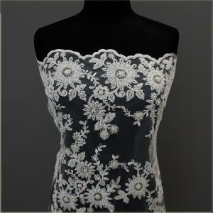 White Bridal Sonia made of Scalloped Embroidered Flowers Sequins on a Mesh Wedding Lace Fabric