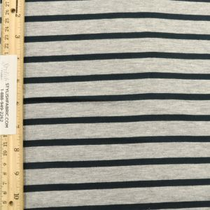 Heather Gray and Hunter Green Stripes Yarn Dyed Rayon Spandex Jersey Fabric