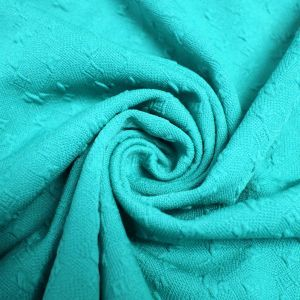 Aqua Jacquard Knit Stretch Jacquard Fabric Bejeweled Pattern
