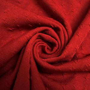 Red Scarlet Jacquard Knit Fabric Bejeweled Pattern