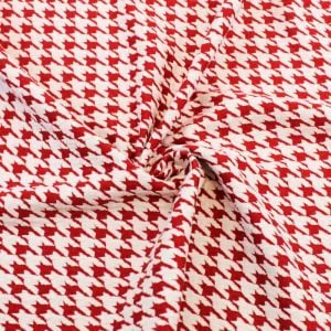 Houndstooth Knit Jacquard Knit Fabric Cotton Knit Jacquard Fabric Red Off White