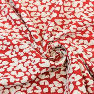 SPECIAL DEAL-Red Off White Leopard Jacquard Knit Jacquard Fabric