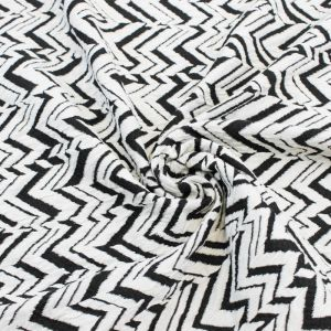Knit Jacquard Knit Chevron Arrowhead Stretch Cotton Jacquard Knit Fabric Black Off White