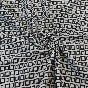 Jacquard Knit Jacquard Off White Black Designer Asymmetric Square Diamond Geometric Knit Fabric