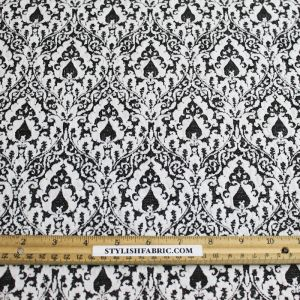 Art Nouveau Black and White Knit Jacquard with Stretch Fabric