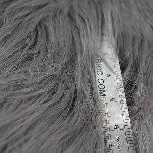 Charcoal Light Faux Fur Fabric Long Pile Mongolian