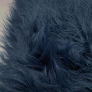 Denim Faux Fur Fabric Long Pile Mongolian by the Yard