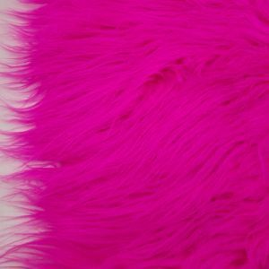 Hot Pink Faux Fur Fabric Long Pile Mongolian by the Yard