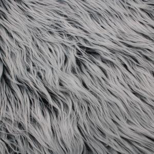 Silver Gray Faux Fur Fabric Long Pile Mongolian