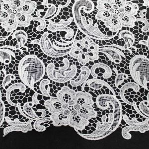 White Venice Guipure Embroidered Lightweight  Lace Fabric