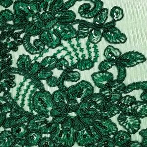 Hunter Green Adrianna Embroidered Flower Sequins Scalloped Lace Fabric