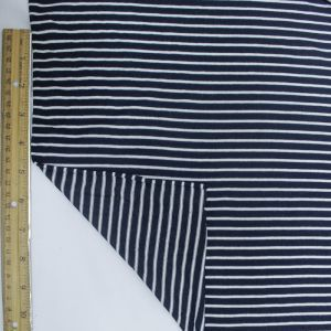 Navy and Off White Asymmetric Viscose Stripe Jersey Fabric