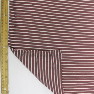Red Brown and Off White Asymmetric Viscose Stripe Jersey Fabric