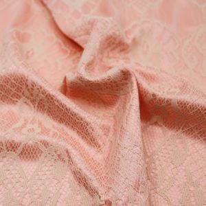 Peach Bonded Lace Fabric