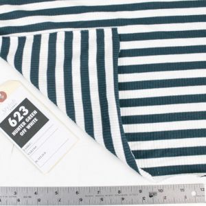 Hunter Green Off White 4x2  Rayon Spandex Thermal Rib Stripe Thermal Fabric