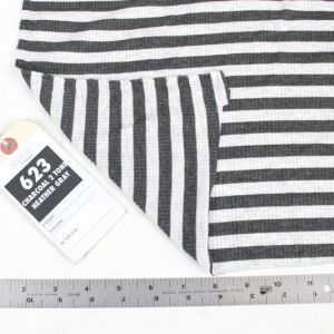 Charcoal 2 Tone Heather Gray Light 4x2  Rayon Spandex Thermal Rib Stripe Thermal Fabric