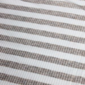 Off White Oatmeal 4x2  Rayon Spandex Thermal Rib Stripe Thermal Fabric