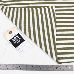 Olive Light Off White 4x2  Rayon Spandex Thermal Rib Stripe Thermal Fabric
