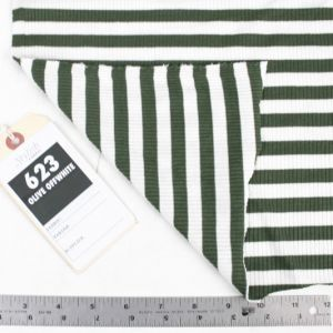 Olive Off White 4x2  Rayon Spandex Thermal Rib Stripe Thermal Fabric