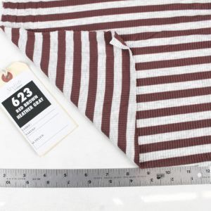 Red Brown Heather Gray Light 4x2  Rayon Spandex Thermal Rib Stripe Thermal Fabric