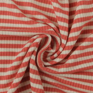 Coral Off White 4x2 Striped Rayon Spandex Stretch Ribbed Knit Fabric