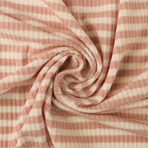 Dusty Pink Off White 4x2 Striped Rayon Spandex Stretch Ribbed Knit Fabric