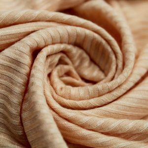 Peach 4x2 Thermal Ribbed Stretch Knit Fabric by the Yard