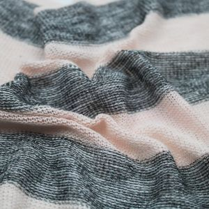 Delicate Pink Gray Stripe Sweater Knit Fabric by the Yard